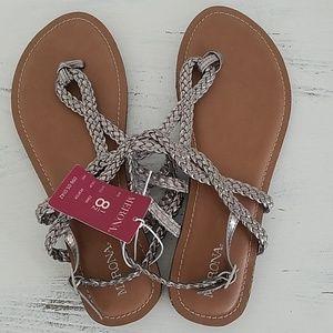 Pewter Braided Sandals
